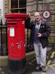 JC with Royal Mail mailbox. Mr. Bean wasn't in it.